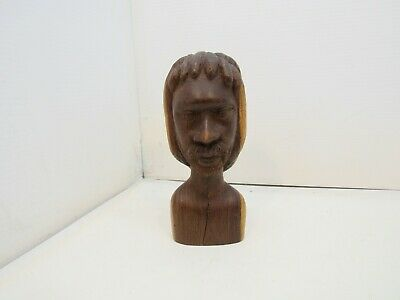 """Vintage Hand Carved Detailed BUST Man with Beard & Mustache 9"""" Tall"""