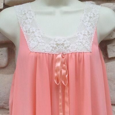 """Formfit Rogers Nightgown Sz Small 10-12 Coral Peach Nylon Ribbon Eyelet 5"""" Lace"""