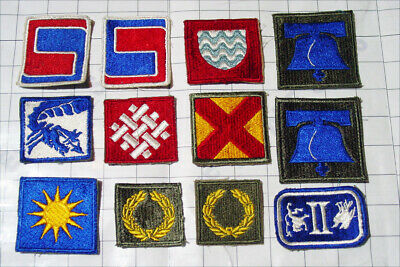 LOT 12x WW2 square patch WWII USA army PATCHES mix divisions infantry collection