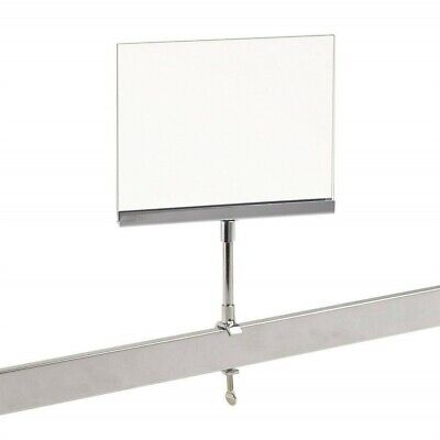 """New 2 Pack Acrylic Frame Clamp On 5"""" x 7"""" Sign Holder Card Display 10"""" H"""