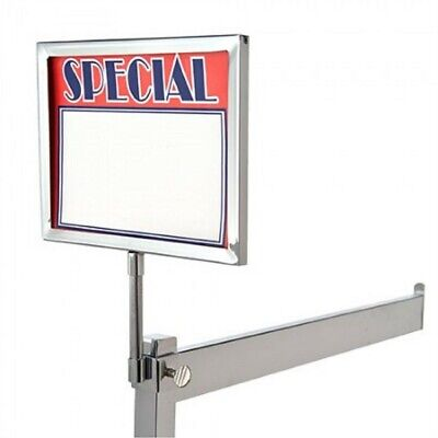 "5 New 5.5"" x 7"" Metal Sign Holder Card Frames With Square Tubing Base 11"" Tall"