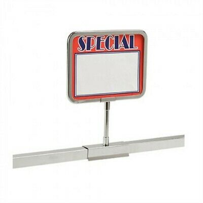 """3 New 3.5"""" x 5.5"""" Metal Sign Holder Card Frames With Square Clamp Tubing Base"""