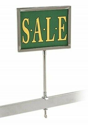 "New Retail Rack Chrome Frame Clamp On 5.5"" x 7"" Sign Holder Card Display, 13"" H"