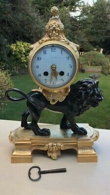 Antique 19th C French Gilt Bronze Louis XVI STYLE mantel Clock Modelled Of Lion