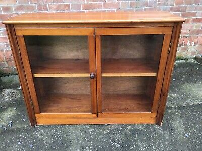Antique Pine Bookcase Glazed Cabinet Bookshelves