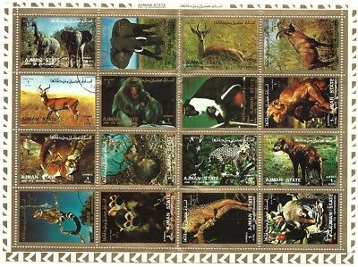 Ajman 1972 - Wild Animals Photographs - Complete Sheet of 16 CTO