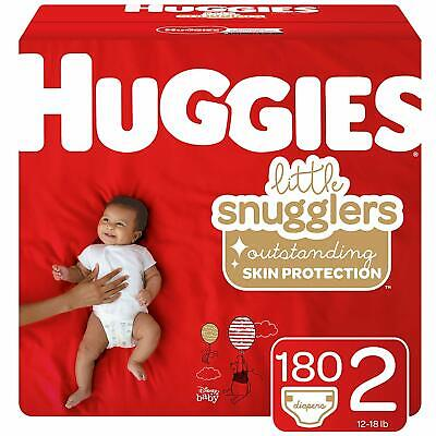 Huggies Little Snugglers Baby Diapers Size 2 (12-18lb), 180 Ct, One Month Supply