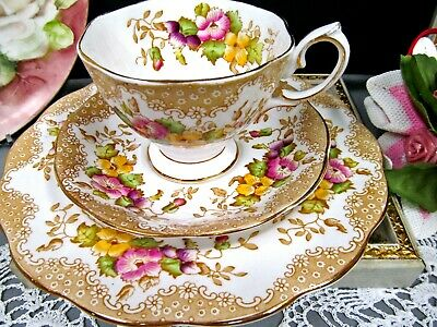 ROYAL ALBERT tea cup and saucer trio Lovelace pattern painted floral teacup