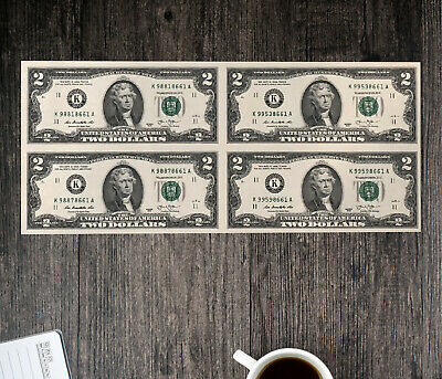 Uncut Currency Collectible Uncirculated Genuine $2 Dollar Bills (Four Notes)