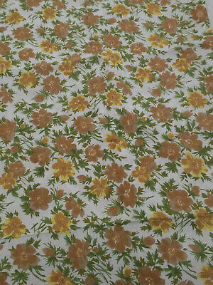 VINTAGE / RETRO 1970 's AUTUMN YELLOW/ BROWN FLORAL QUEEN SHEET & PILLOWCASE/NEW