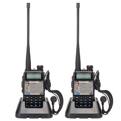 2pcs BAOFENG UV-5XP 7.4v 2000mAh 8W Dual-band Walkie Talkie Earphone Black
