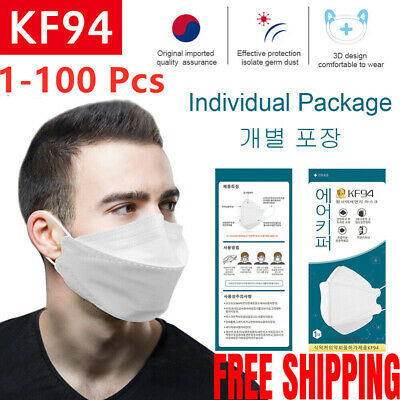 1-100X KF94 Anti Dust Covers Anti Bacterial Triple 94% Filter Cover 4ply Protect