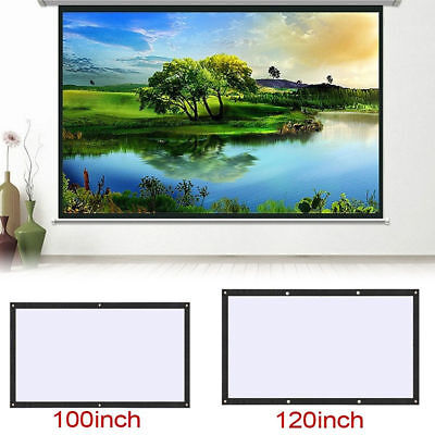 "16:9 Manual Projection Screen Projector Home Movie Matte 60/72/84/100/120"" WH UX"