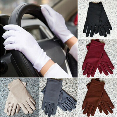 Summer Women Girls Sun UV Protection Outdoor Solid Color Cotton Driving Gloves