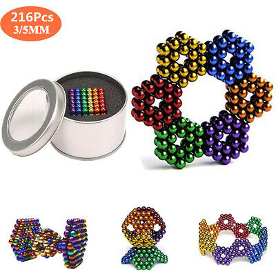216Pcs 3mm/5mm Colored Magnetic Ball Neodymium Bead Magnetic Cube Stress Relief
