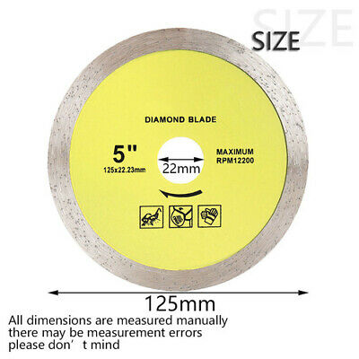 "5"" 125mm DIAMOND Mini Tile Cutting DISC Angle Grinder Saw Cutter Blade 20mm BORE"