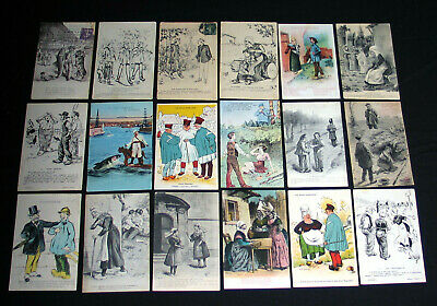 Lot A48 : 18 Cpa Humour Grivois Patois Illustration Dessin Caricature Campagne