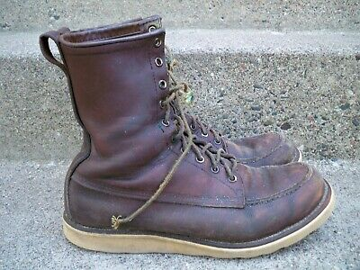 Vintage 1970s Red Wing Irish Setter Leather Boots Crepe Sole Hunt Work Size 10
