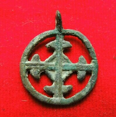 Ancient Viking bronze pendant with  cross 10-12 century