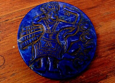 Big Ancient Very Old Hand Carved Lapis Slab Man Archer & Ram Sheep