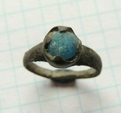 Ancient bronze ring with a stone of the 7-8th century