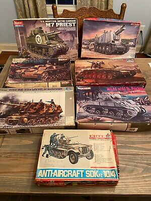 WW2 Tank/Armor Model Kits Mixed 7-LOT in Boxes SHIP QUICK & FREE!