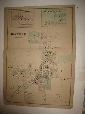 Antique 1873 Orrville Jackson Milton Station Wayne County Ohio Handcolored Map