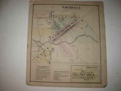 Antique 1873 Smithville Maysville Wayne County Ohio Handcolored Map Rare Superb