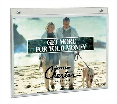 """Store Display Fixtures NEW ACRYLIC WALL MOUNT SIGN HOLDER 11"""" TALL X 14"""" WIDE"""
