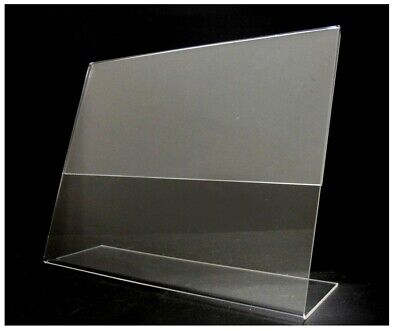"Store Display Fixtures 2 NEW ACRYLIC SIGN HOLDER 5.5"" TALL X 7"" WIDE SLANT BACK"