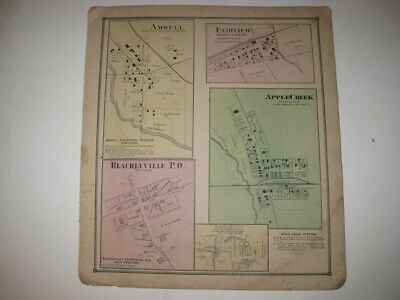Antique 1873 Amwell Apple Creek Blachleyville Burton City Wayne County Ohio Map
