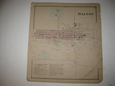 Antique 1873 Dalton Wayne County Ohio Handcolored Map Superb Rare Fine Nr