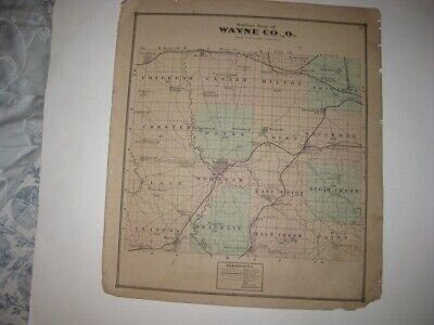 Antique 1873 Wayne County Ohio Handcolored Map Wooster Orrville Shreve Dalton Nr