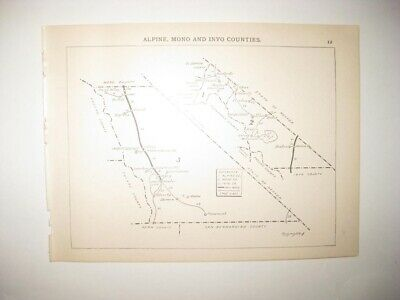 Antique 1894 Alpine Mono Inyo County California Map Railroad Stagecoach Line
