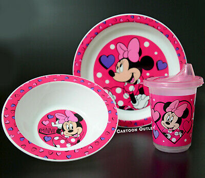 Disney Plate Bowl and Learner Sippy Cup Kids 3 pc Dinner set Minnie Mouse New