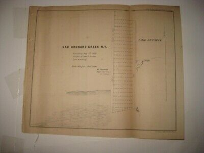 Antique 1854 Oak Orchard Creek Lake Ontario Orleans County New York Dated Map Nr