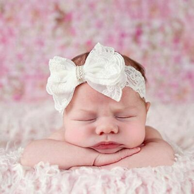 Kids Turban Girls Toddler Headwear Bow Pearl Baby Headband Lace Hair Band