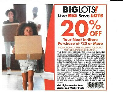 BIG LOTS 20% OFF $25+ COUPON ENTIRE PURCHASE INCLUDING FURNITURE - Exp 5/31/20