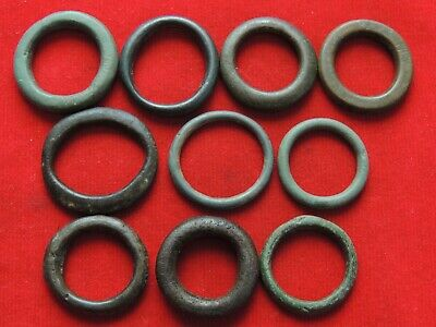 "lot of 10 ancient Celtic proto-money from the bronze rings ""Coins"" around 400 BC"