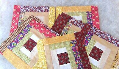 Log Cabin Super Scrappy Earthtones Quilt KIT12 Blocks