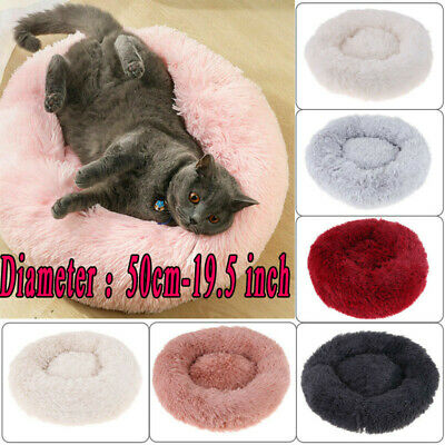 Fur Donut Cuddler Pet Calming Bed Dog Beds Soft Warmer Medium Small Dogs Cats QY