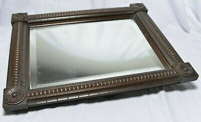 Arts and Crafts Mahogany bevelled mirror with Tudor Rose carving