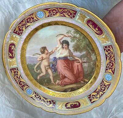 Antique Royal Vienna Beehive Hand Painted Cabinet Plate Woman & Cupid Estate