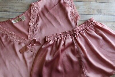 VTG Victorias Secret Gold Label Pink Satin Short  Set Lace Small