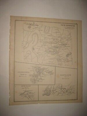 Fine Antique 1892 New Ipswich Smith Bank Village Nashua New Hampshire Map Nr