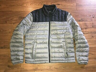 NICE GH Bass Mens Gray Black Down Puffer Jacket Packable Mens Large L NICE