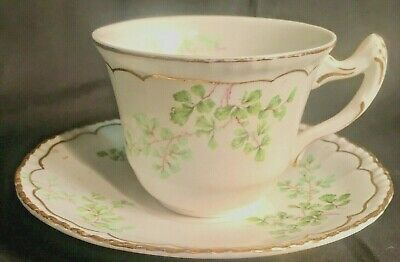 Antique Aynsley & Son's  Teacup Cup & Saucer Shamrock Clover
