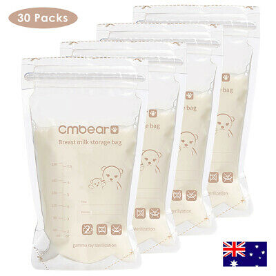 30pcs Breast Storage Milk Bags Pack Clear Bag Baby Food Freezing Reusable 220ml