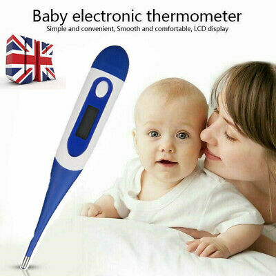 Soft Head Electronic LCD Thermometer Digital Baby Adult Medical Body Fever mV UK