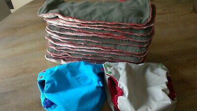 RolyPoly boys snap pocket diapers with 15 nicki's diapers fleece insert lot